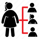 female, female icon, girl, leader, manager, organization icon