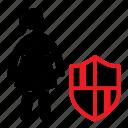 female, girl, guard, private, safe, secure, stickman icon