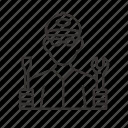 mechanic, repair, repairman, serviceman, worker icon