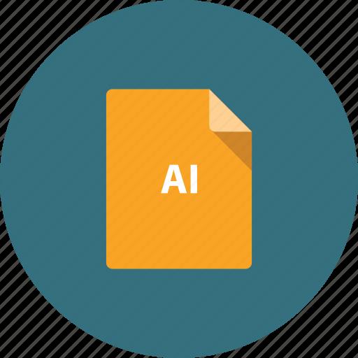 ai format, design, document, extension, file, orange icon