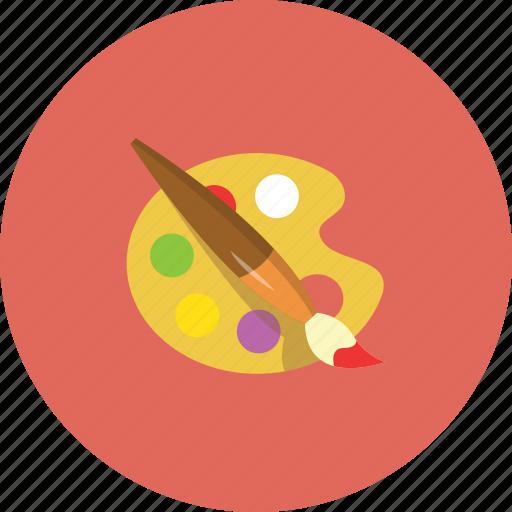 art, brushe, colours, pallet icon