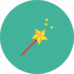 enchantment, graphic, hand, red, star, wand, yellow icon