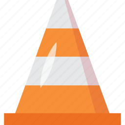 cone, forbidden, media, movies, player, sounds, tool, tools, traffic, vlc, warning symbol icon