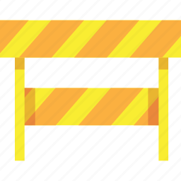barrier, construction, safe, street, under, yellow icon