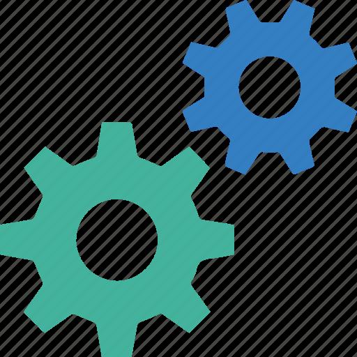 blue, cog, cogwheel, green, services, settings, work icon