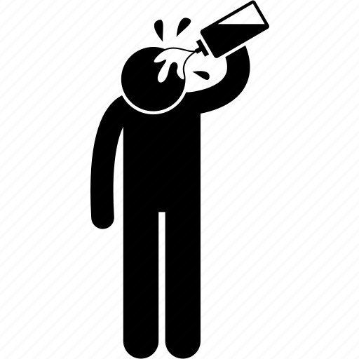 action, bottle, head, man, person, splashing, water icon