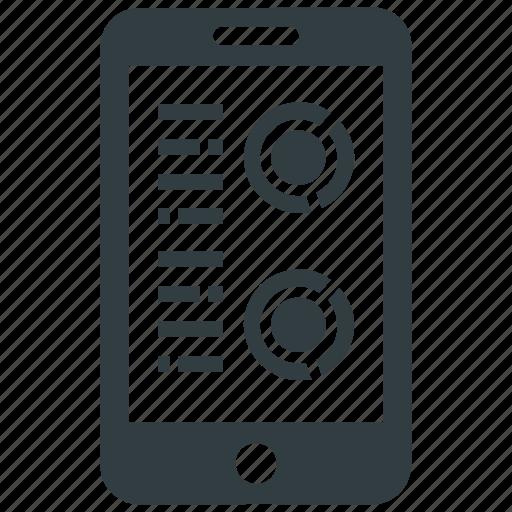 info graphic, mobile graph, mobile report, online report icon