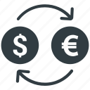 conversion, dollar, euro, exchange, money icon