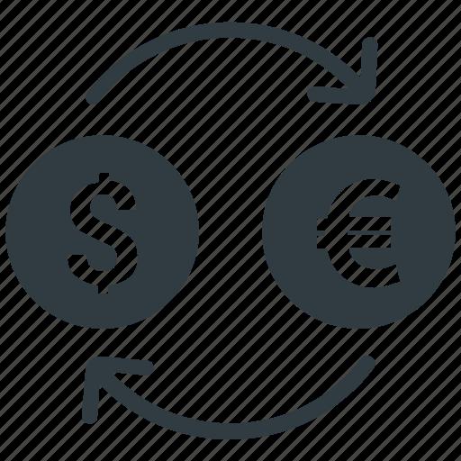 conversion, dollar, euro, exchange, money icon
