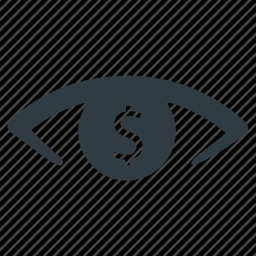 business concept, business vision, dollar eye, money eye, profit icon