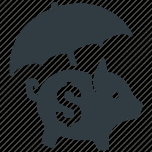 money, piggy bank, savings protection, umbrella icon