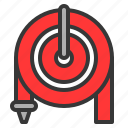 equipment, fire hose, hose, protective, tool icon