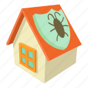 cartoon, disinfectionhouse, garden, gloves, home, house, isometric icon