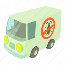 car, cartoon, disinfectioncar, emblem, garden, gloves, isometric icon