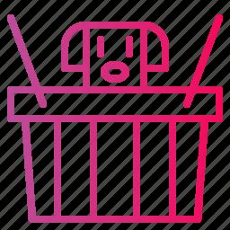 basket, dog, pet, shopping icon