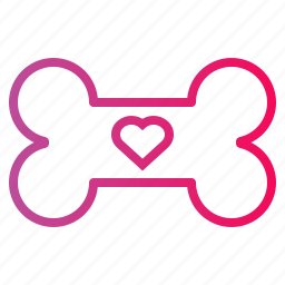 bone, heart, love, pet icon
