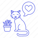 animal, cat, heart, kitty, love, pet, plant, pot icon