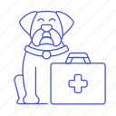 animal, care, cross, dog, health, kits, pet, red, suitcase icon