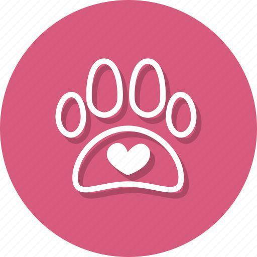 animal, claw, dog, foot, heart, paw, pet icon