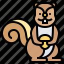 animal, rodent, shrew, squirrel, tree icon