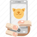 holding, image, personal, pet, phone, photo, selfie icon