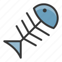 fish, fishbone, pet, shop, waste icon
