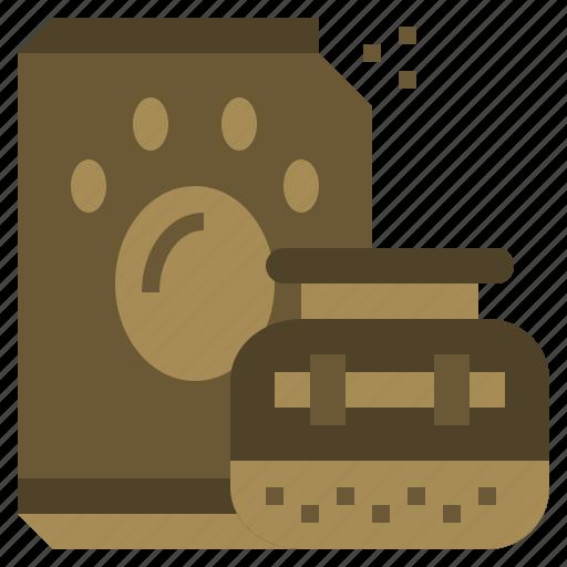 animal, animals, bags, dog, food, paw, pawprint icon