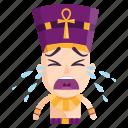 crying, emoji, emoticon, pharaoh, sad, sticker icon