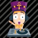 dj, emoji, emoticon, music, pharaoh, sticker icon