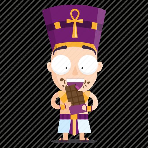 chocolate, eating, emoji, emoticon, pharaoh, sticker icon