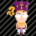emoji, emoticon, pharaoh, question, sticker icon