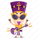 emoji, emoticon, music, pharaoh, rockstar, sticker icon