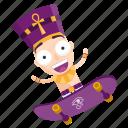 emoji, emoticon, pharaoh, skateboard, sticker icon