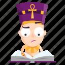 emoji, emoticon, pharaoh, reading, sticker, studying icon