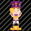 emoji, emoticon, pharaoh, sticker, trophy, winner icon