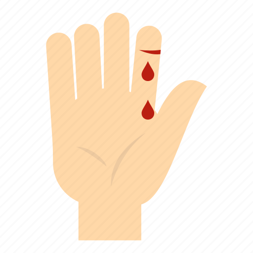 bleed, blood, finger, hand, injury, thumb, wound icon