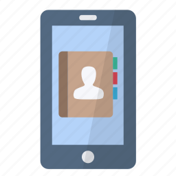app, application, contact, mail, person, phone, smartphone icon