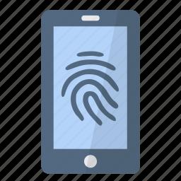 access, app, application, fingerprint, phone, security, smartphone icon