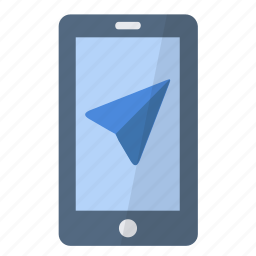 app, application, arrow, gps, navigation, phone, smartphone icon