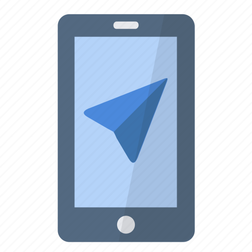 app, application, arrow, gps, navigation, phone, smartphone icon