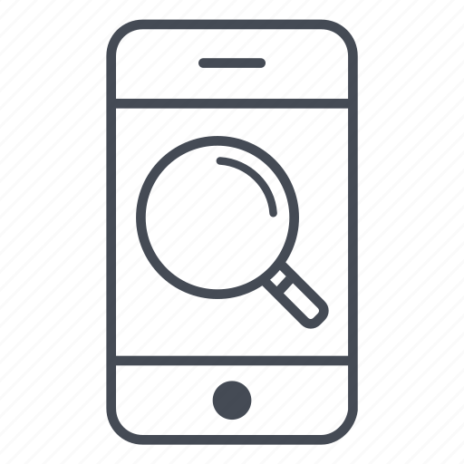app, application, find, glass, magnifying, phone, smartphone icon