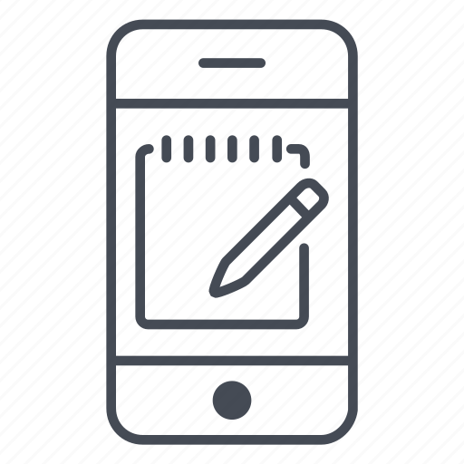 app, application, notepad, pencil, phone, smartphone, write icon