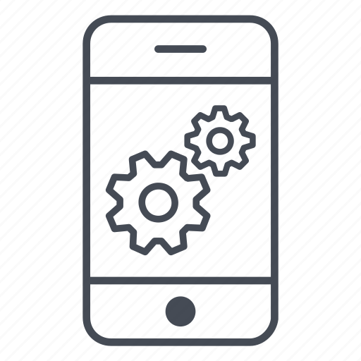 app, application, gears, phone, preferences, settings, smartphone icon