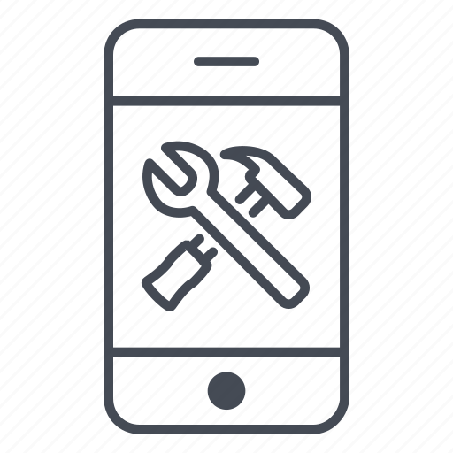 app, application, hammer, phone, smartphone, tools, wrench icon