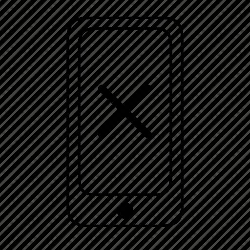 cellphone, cross, error, failure, mobile, phone, unsuccessful icon