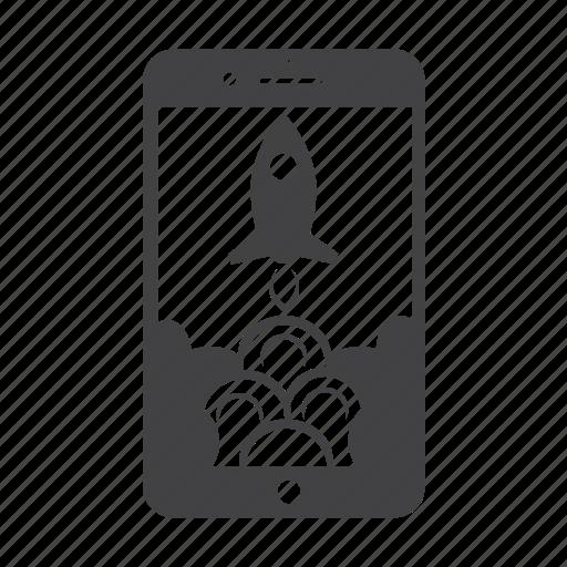 iphone, launch, marketing, phone, rocket icon