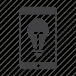 bulb, creativity, idea, iphone, light bulb, phone, smartphone icon