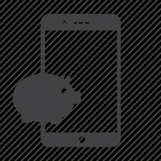 iphone, money, pig, piggy, piggy bank, save money, savings icon
