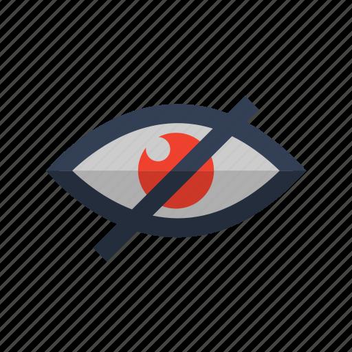 eye, eyeball, eyes, no, red, view icon icon