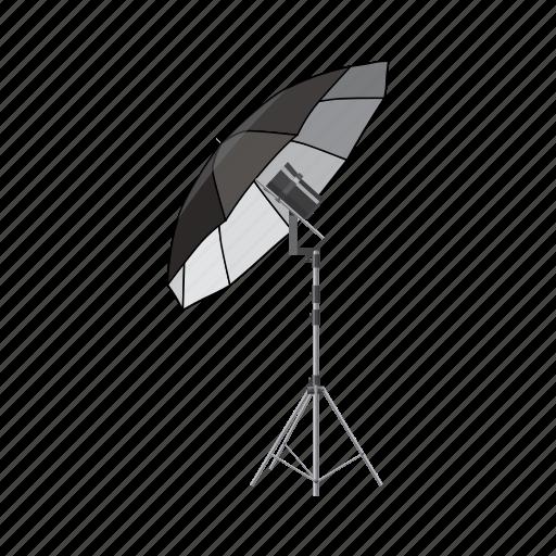 blog, cartoon, equipment, flash, photography, shooting, umbrella icon